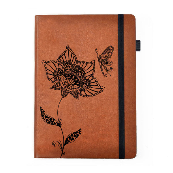 Hamee - Beautiful Butterfly - Tan Brown Leather Notebook - Hamee India