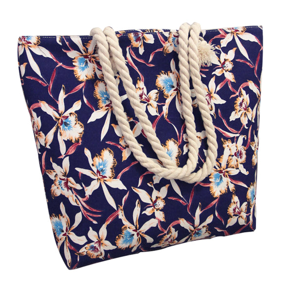 Canvas Shopping Tote Bag - Blue Floral-Hamee India
