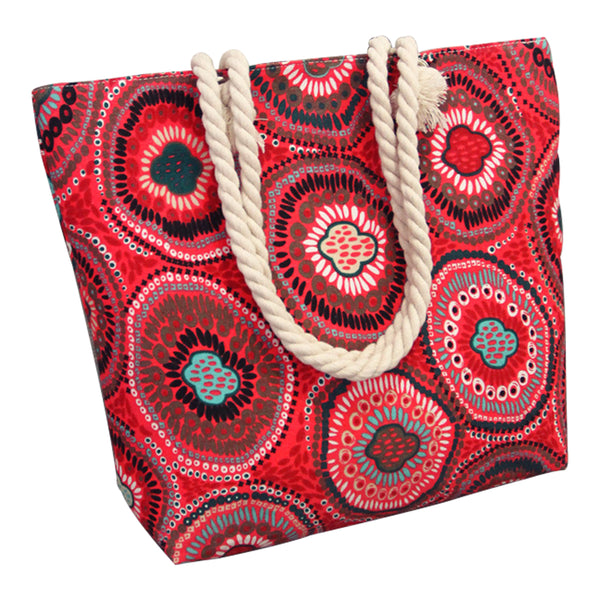 Canvas Shopping Tote Bag - Red Mandala-Hamee India
