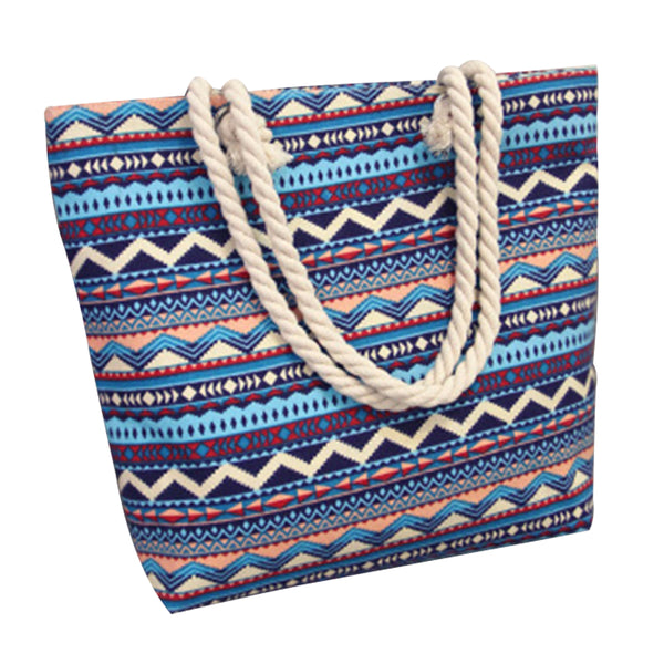 Canvas Shopping Tote Bag - Blue Tribal-Hamee India