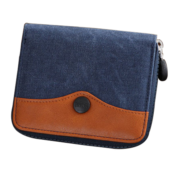 PU Leather Canvas Zip Wallet - Blue & Brown-Hamee India