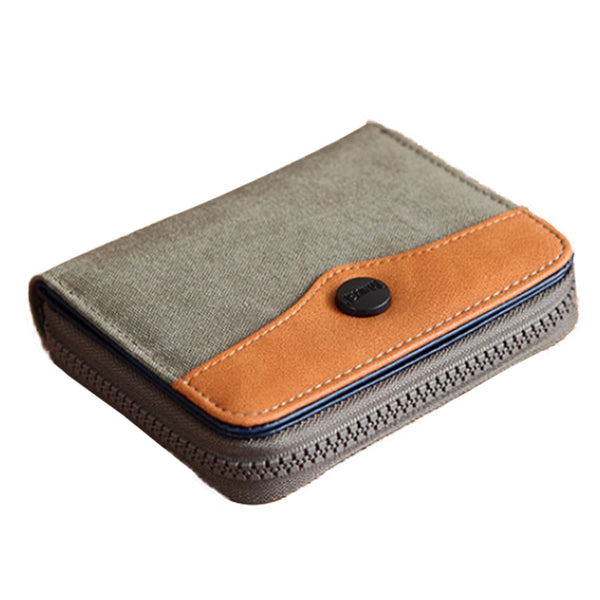 PU Leather Canvas Zip Wallet - Beige & Brown-Hamee India
