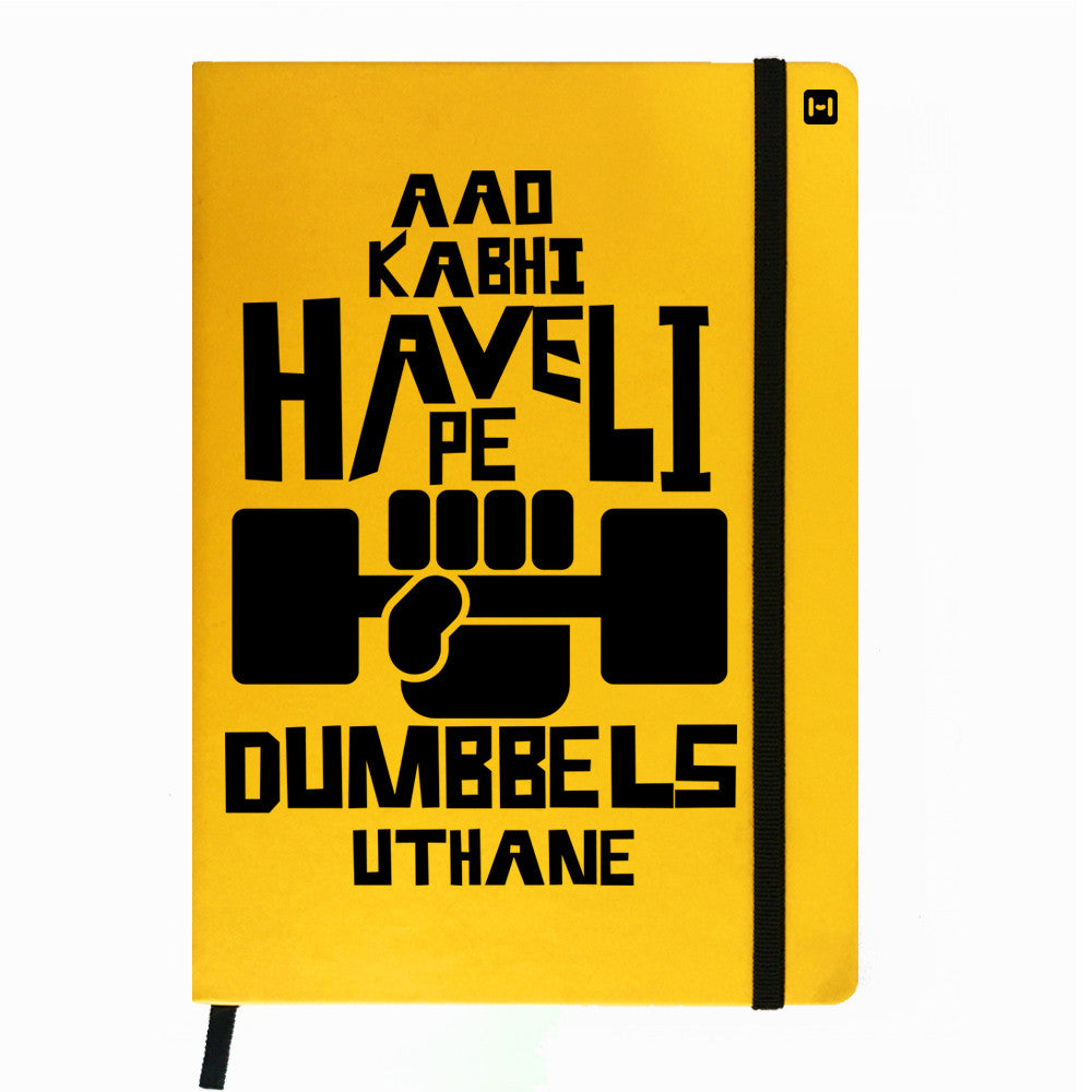 Obsessed with Dumbells - Yellow Notebook-Hamee India