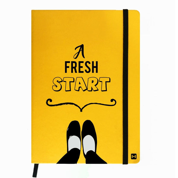 Hamee India - A Fresh Start - Yellow Leather Notebook