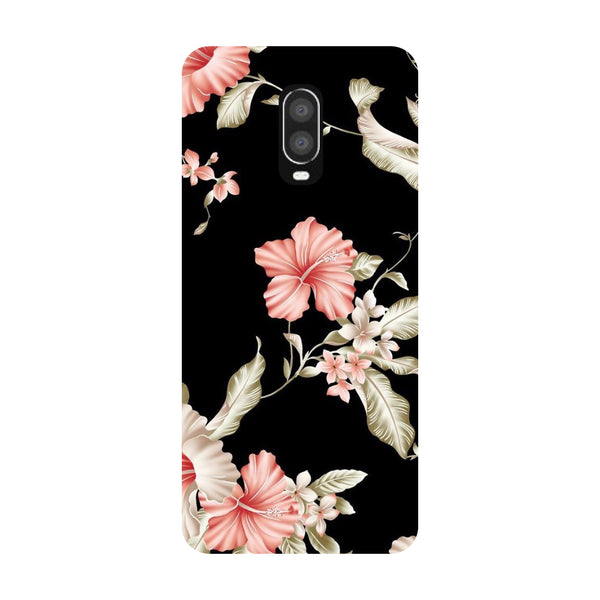 Black Floral OnePlus 6T Back Cover-Hamee India