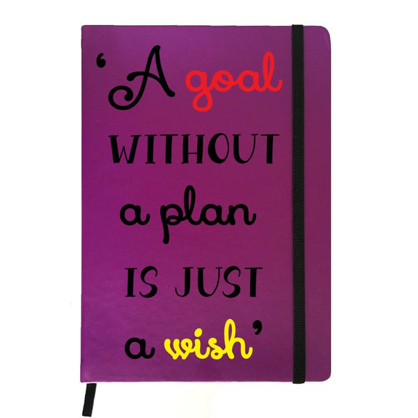 Hamee India - A Goal Without Plan is Wish - Purple Leather Notebook