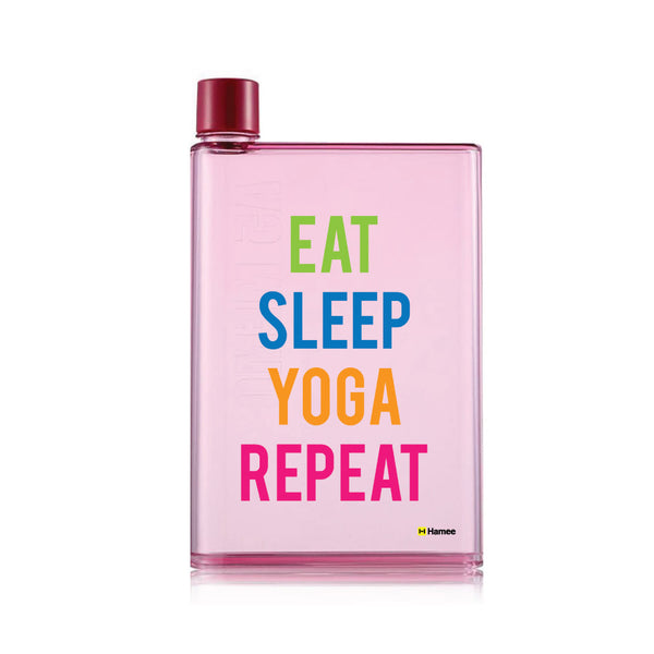 Yoga Repeat - Pink Water Bottle (420 ml)-Hamee India