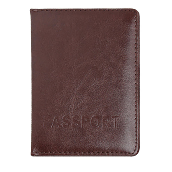 Plain - Dark Brown PU Leather Passport Wallet / Holder