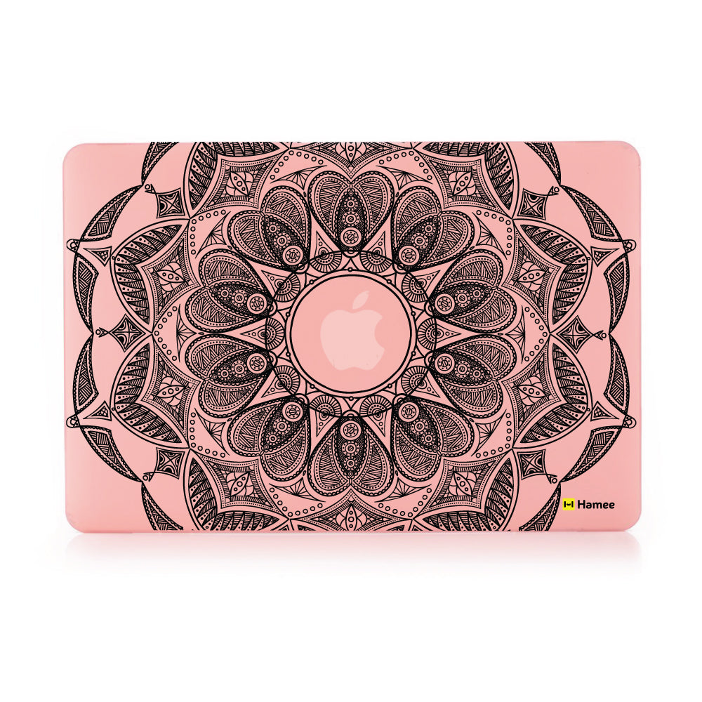 "Black Mandala - Pastel Pink - Matte Finish Shell Case for Apple Macbook Air 13""-Hamee India"