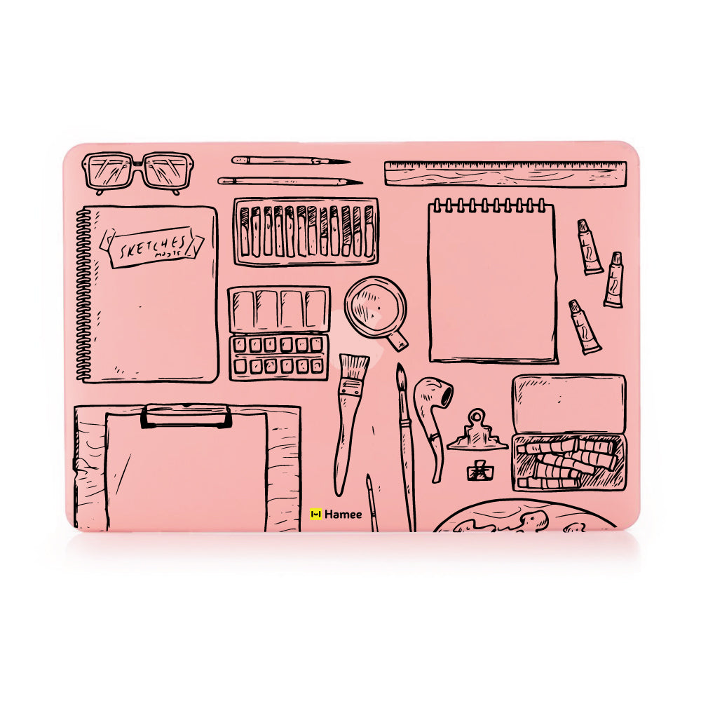 "Art Desk - Pastel Pink - Matte Finish Shell Case for Apple Macbook Air 13""-Hamee India"