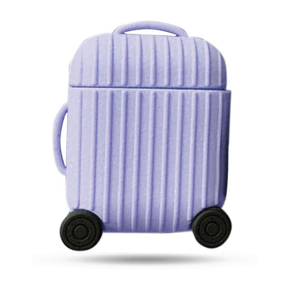 Silicone Suitcase Airpods Case - Purple
