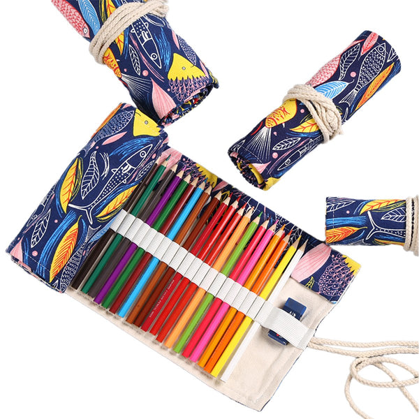 Fishes Canvas Pencil Wrap Case-Hamee India