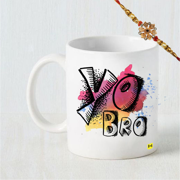 Yo Bro - Coffee Mug and Rakhi Combo
