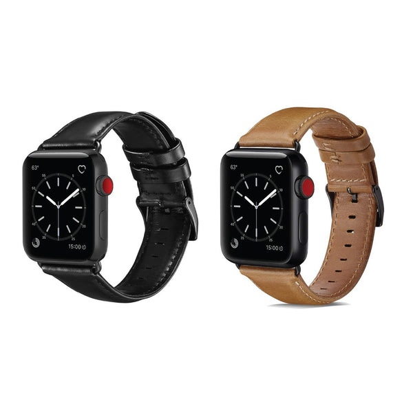 Real Leather Band Strap (Set of 2) - Apple Watch Series 5/4/3 (44mm/42mm)
