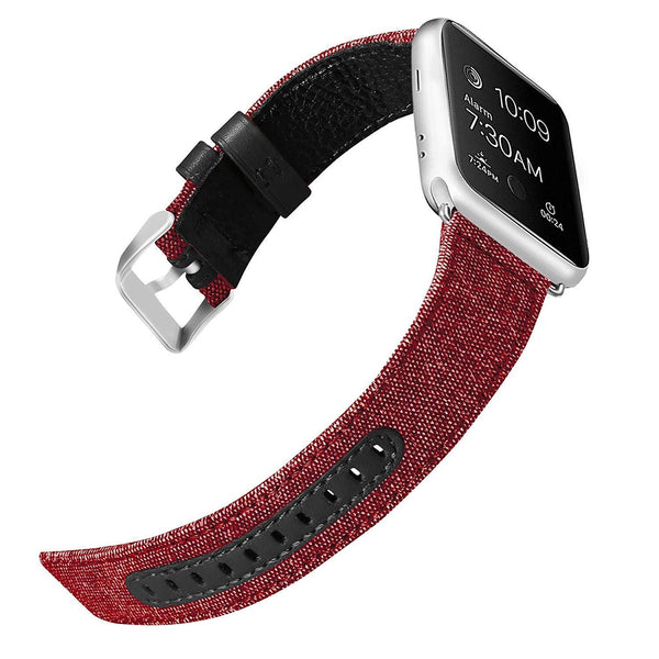 Red Canvas Leather Band Strap - Apple Watch Series 5/4/3 (44mm/42mm)