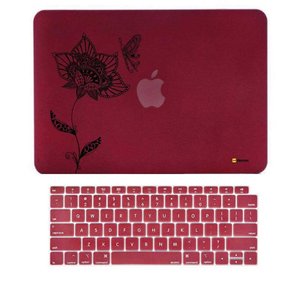 "Butterfly Wine Red MacBook Air 13"" Retina Cover & Keyboard Guard-Hamee India"