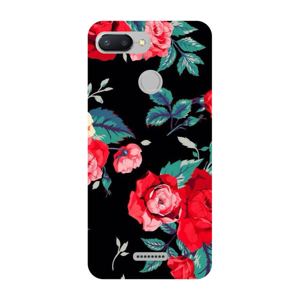 Black Bloom Redmi 6 Back Cover-Hamee India