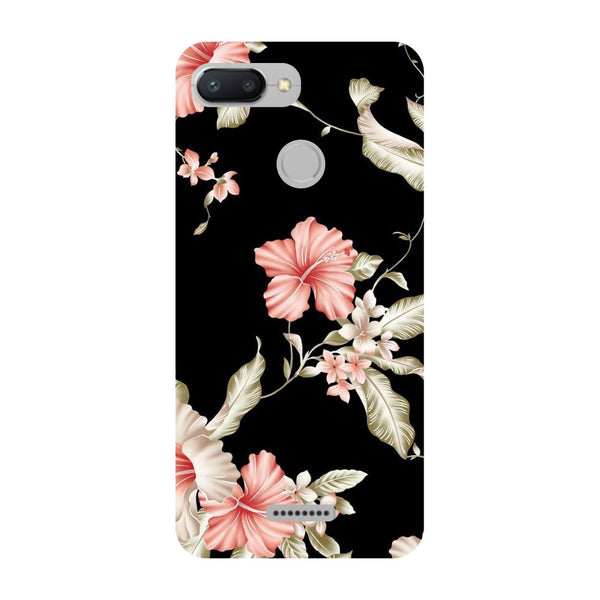Black Floral Redmi 6 Back Cover-Hamee India