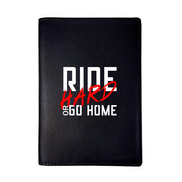Ride Hard Black PU Leather Passport Wallet / Holder-Hamee India