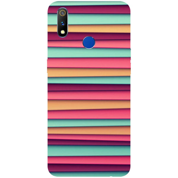 Colourful Stripes RealMe 3 Pro Back Cover-Hamee India