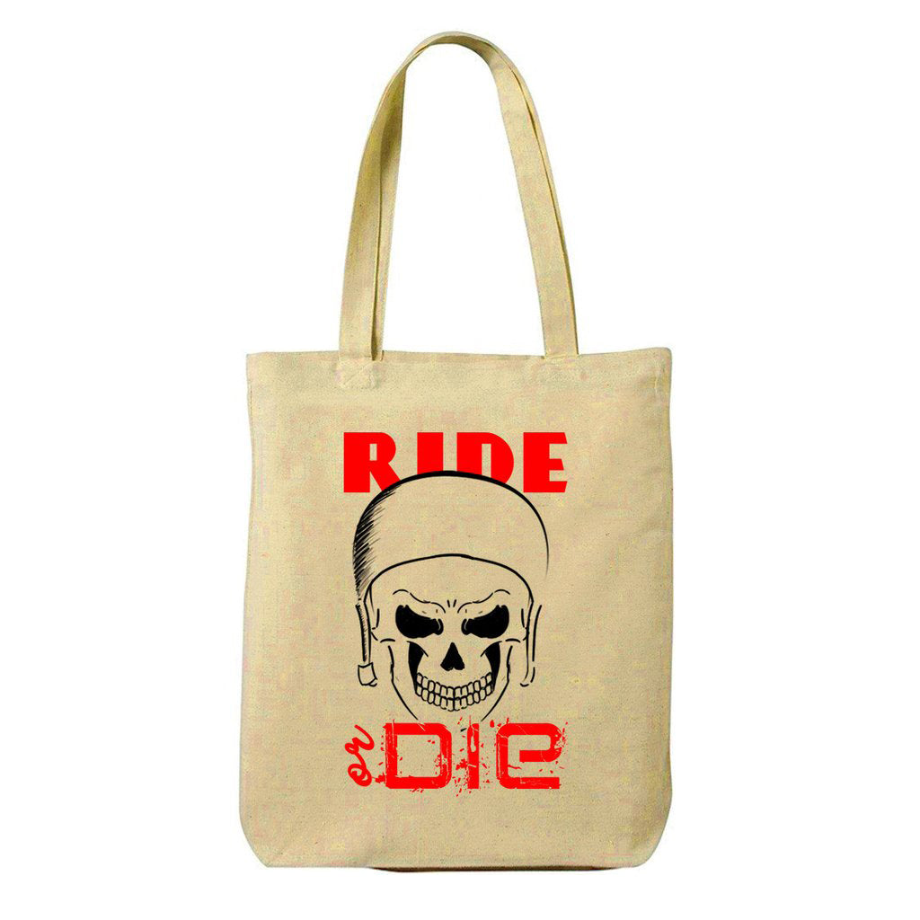 Ride Or Die Canvas Shopping Tote Bag-Hamee India