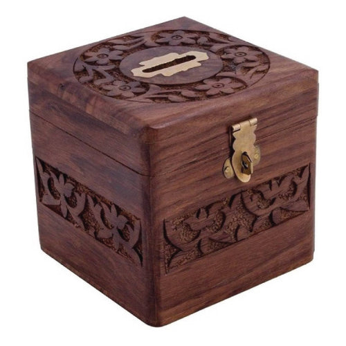 Beautiful Handmade Wooden Money Bank-Hamee India