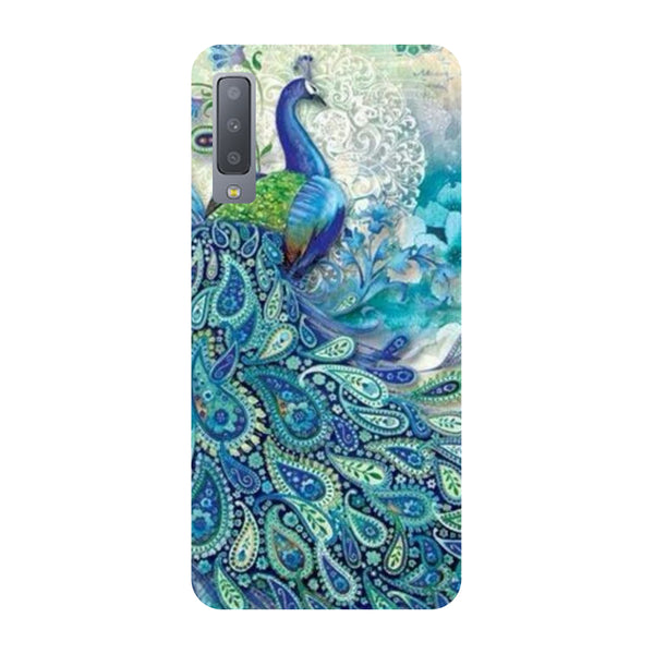 Blue Peacock Samsung Galaxy A7 Back Cover-Hamee India