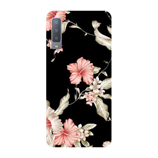 Black Floral Samsung Galaxy A7 Back Cover-Hamee India