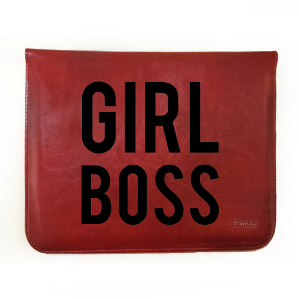 Hamee - Girl Boss - Tan Brown Leather 11 inch Tablet Sleeve-Hamee India