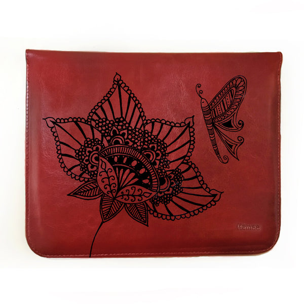Hamee - Butterfly on Flower - Tan Brown Leather 11 inch Tablet Sleeve-Hamee India