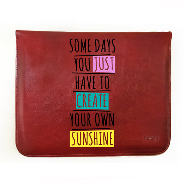 Hamee - Create Your Own Sunshine - Tan Brown Leather 11 inch Tablet Sleeve-Hamee India