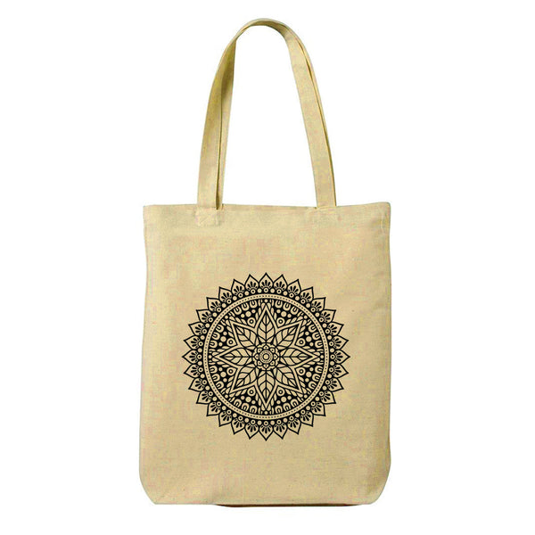Black Mandala Canvas Shopping Tote Bag-Hamee India