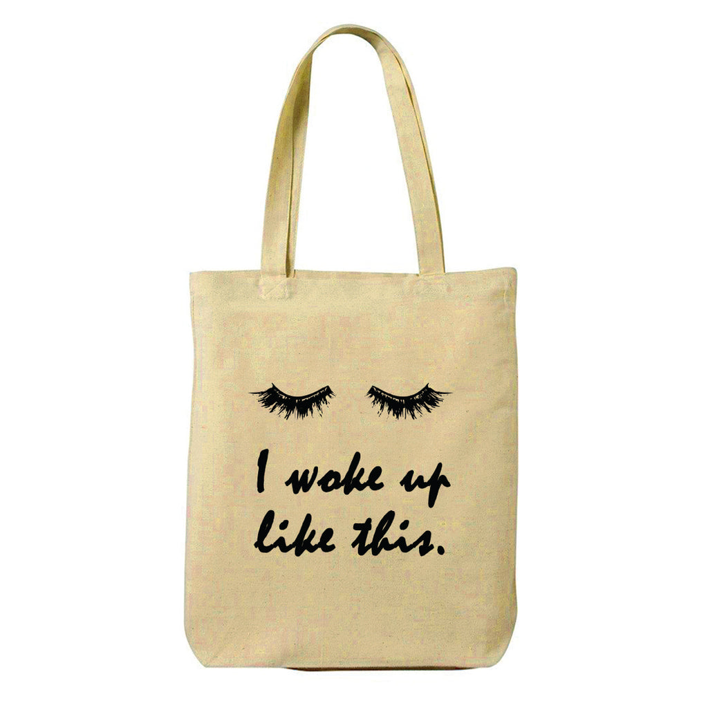 Woke Up Canvas Shopping Tote Bag-Hamee India