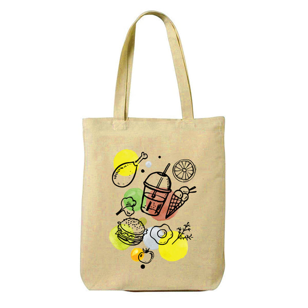 Food Love Canvas Shopping Tote Bag-Hamee India