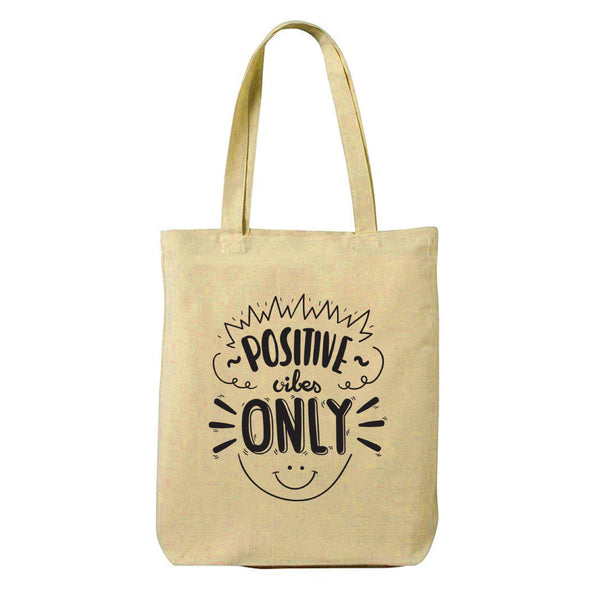 Positive Vibes Canvas Shopping Tote Bag-Hamee India