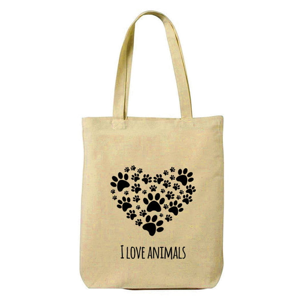 I Love Animals Canvas Shopping Tote Bag-Hamee India