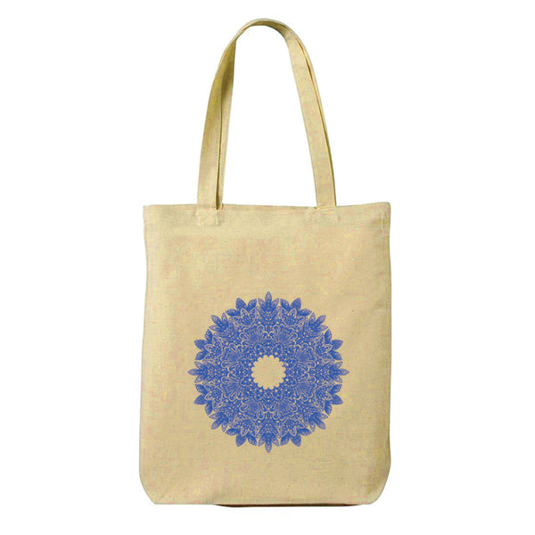 Blue Mandala Canvas Shopping Tote Bag-Hamee India