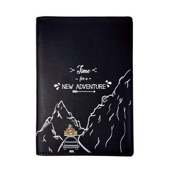 New Adventure Black PU Leather Passport Wallet / Holder-Hamee India