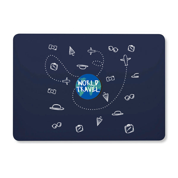 "World Travel Doodle Navy Blue MacBook Air 13"" Retina (2018) Cover-Hamee India"