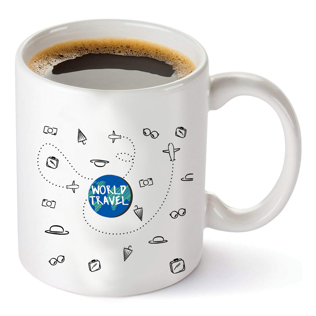 World Travel Doodle White Coffee Mug-Hamee India