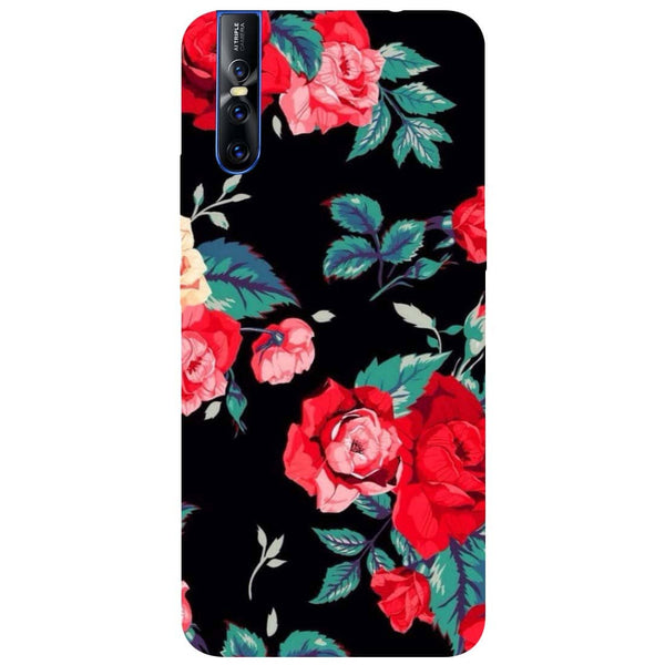 Black Bloom Vivo V15 Pro Back Cover-Hamee India