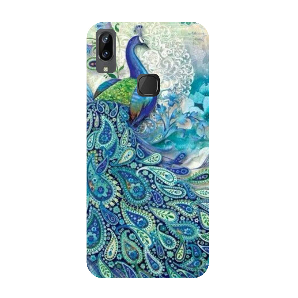 Blue peacock- Printed Hard Back Case Cover for Vivo X21i-Hamee India