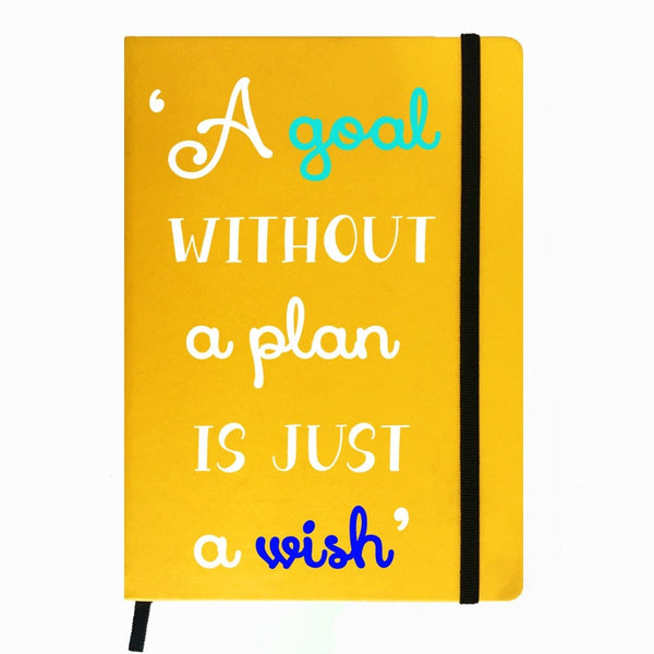 Hamee India - A Goal Without Plan is Wish - Yellow Leather Notebook