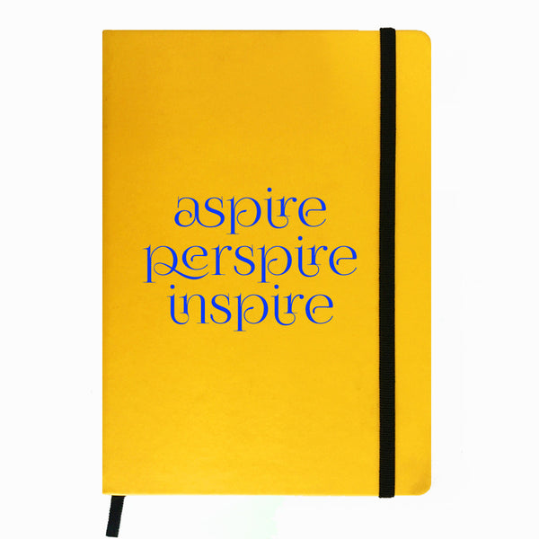 Hamee India - Aspire Perspire Inspire - Yellow Leather Notebook