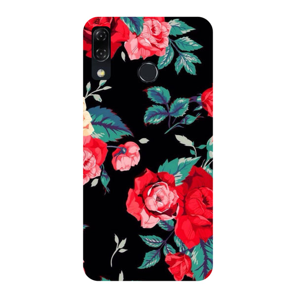 Black Bloom-Printed Hard Back Case Cover For Zenfone 5Z-Hamee India