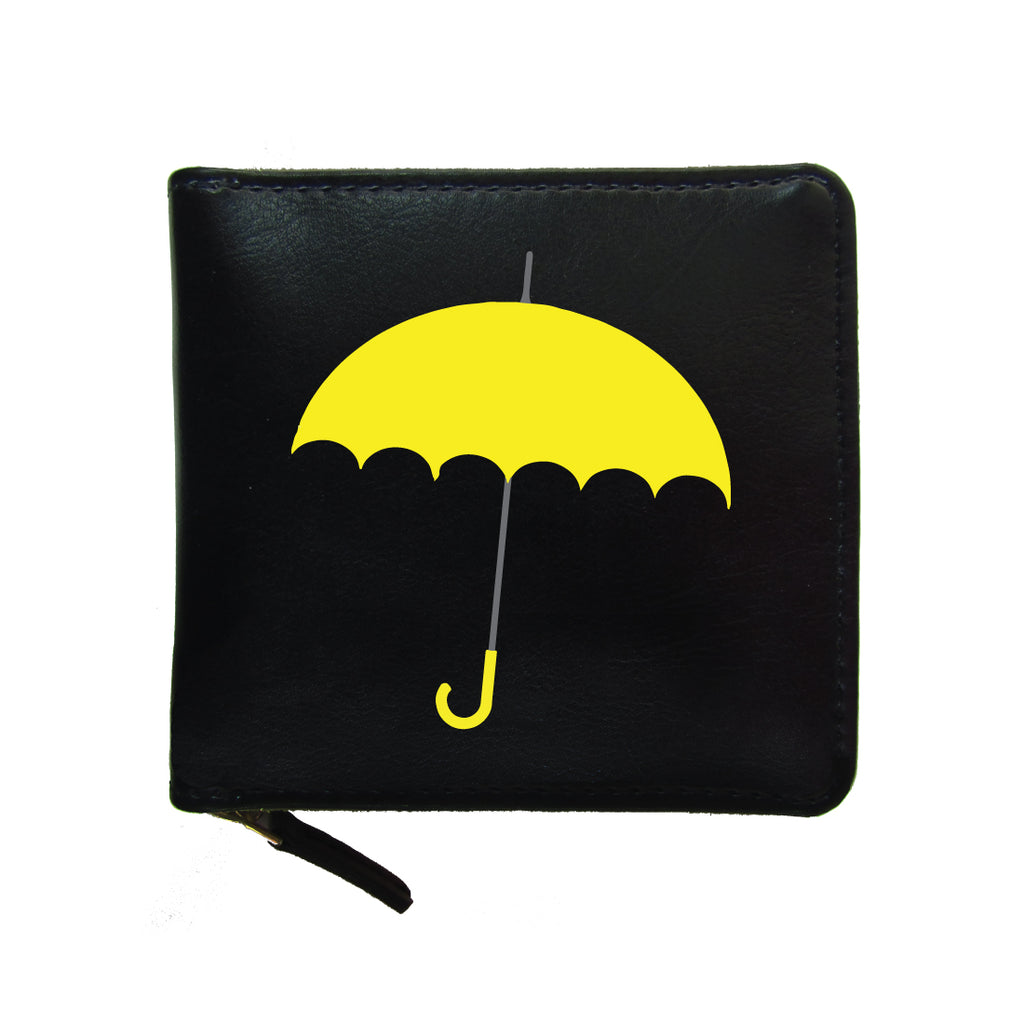 PU Leather Black Zip Wallet- Yellow-Umbrella-Hamee India