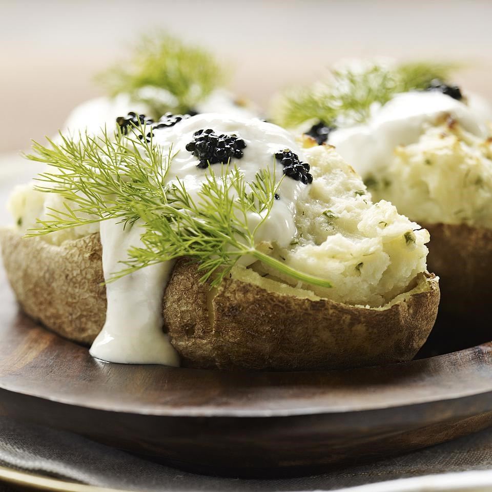 Eating Well: Twice-Baked Potatoes with Horseradish & Caviar: