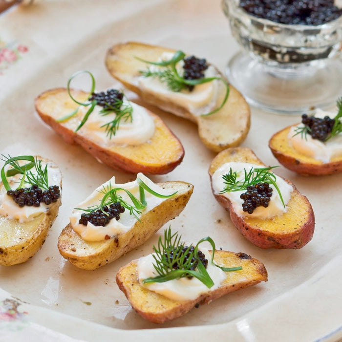 Bliss Victoria- Parmesan-Vinaigrette Potatoes with Crème Fraîche and Caviar