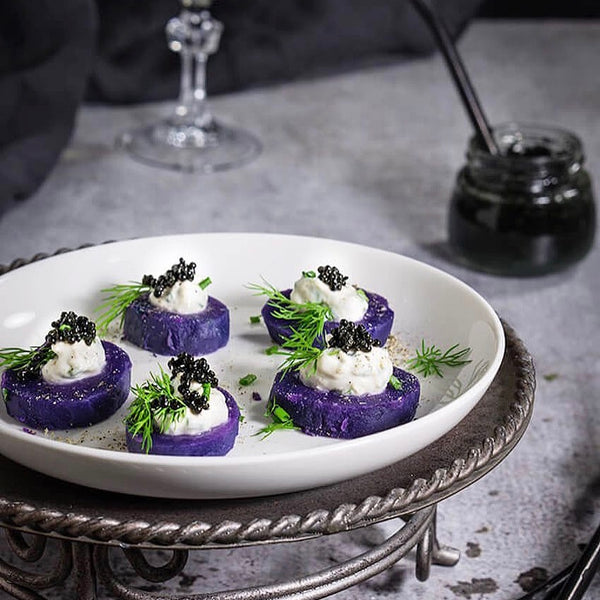 Purple Potato Bites with Horseradish Creme Fraiche and Caviar: Viktoria's Table