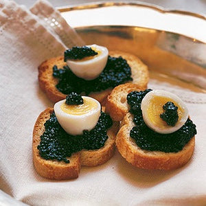 Martha Stewart's: Quail Eggs with Caviar